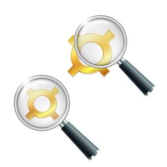 Símbolo de moeda ouro genérico com lupa. pesquise ou verifique a estabilidade financeira. ilustração vetorial isolada em fundo branco