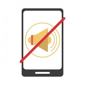 Símbolo de mudo de smartphone