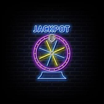 Símbolo de néon da roda da fortuna