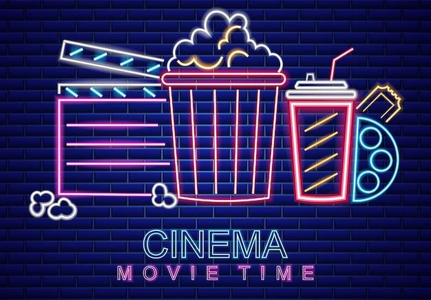 Símbolo de néon de cinema