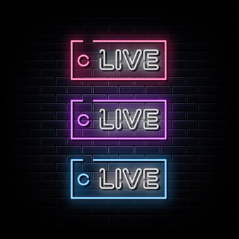 Símbolo de néon de texto em néon ao vivo