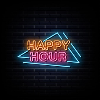 Símbolo de néon do sinal de néon happy hour