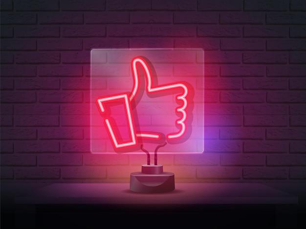 Símbolo de néon vermelho como ou polegar para cima na parede de tijolos