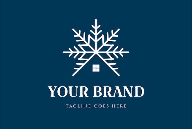 Símbolo de neve com casa para chalé de chalé de madeira ou vetor de design de logotipo de imóveis