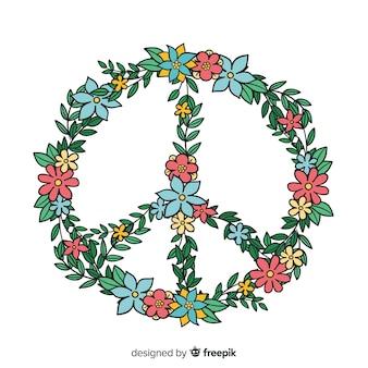 Símbolo de paz linda com estilo floral