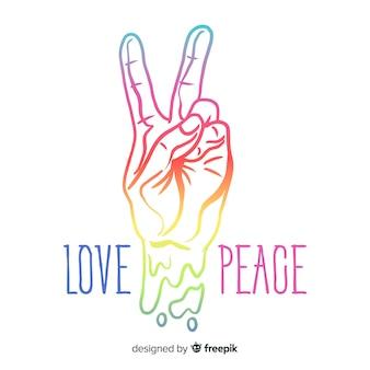 Símbolo de paz moderno com a mão mostrando dois dedos
