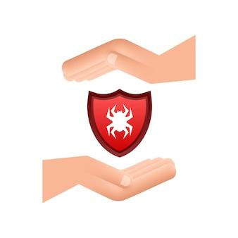 Símbolo de perigo de vírus sobre ilustração vetorial de mãos proteção contra vírus alerta de vírus de computador
