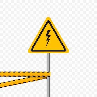 Símbolo de perigo. triângulo em fundo transparente. sinal de alerta alta tensão, perigo.