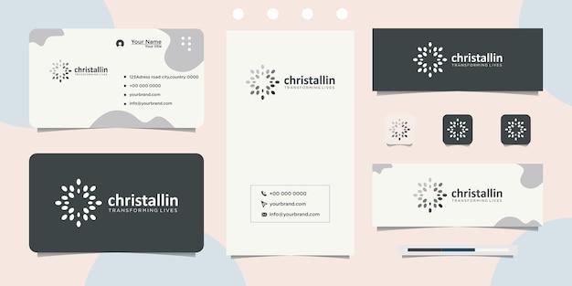 Símbolo de ponto abstrato em forma redonda e design de cartão de visita