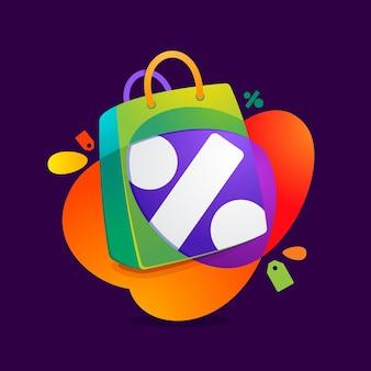 Símbolo de porcentagem com o ícone da sacola de compras e a etiqueta de venda.