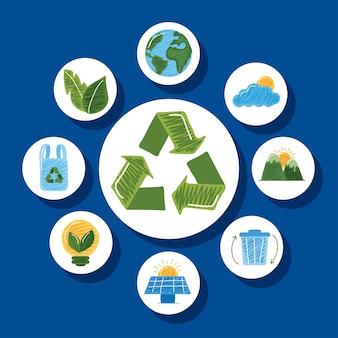 Símbolo de reciclagem com ícones