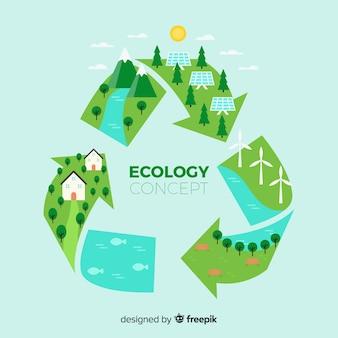 Símbolo de reciclagem plana com campos verdes