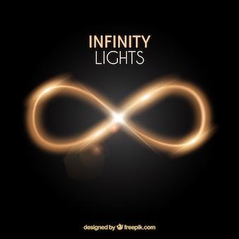 Símbolo de reflexo de lente infinito com efeito de luz