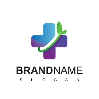 Símbolo de remédios de ervas com logotipo de cuidados de saúde