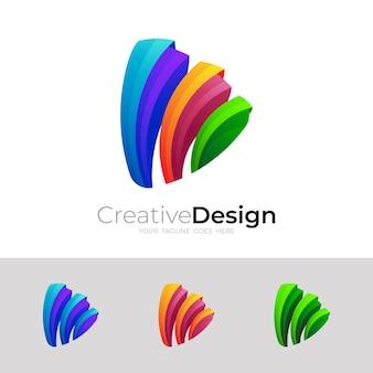 Símbolo de reprodução de logotipo e ícones coloridos 3d, ícone de reprodução