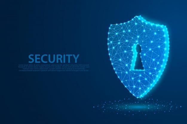 Símbolo de segurança de tecnologia com fundo azul, um símbolo de fechadura composta por polígonos