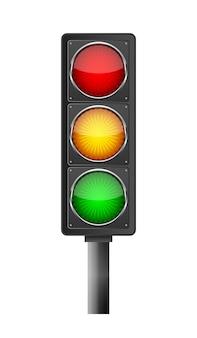 Símbolo de semáforo em fundo claro isolado no branco