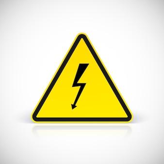 Símbolo de sinais de choque elétrico de atenção. símbolo em sinal triangular