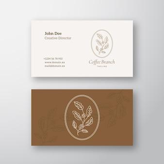 Símbolo de sinal abstrato de ramo de café ou logotipo e modelo de cartão de visita