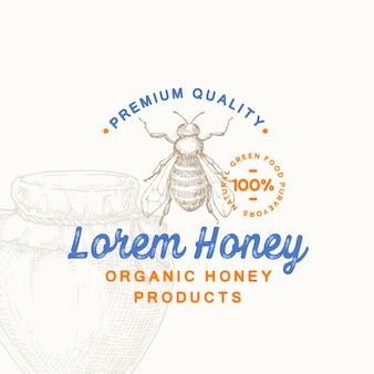Símbolo de sinal de produto de mel orgânico de qualidade premium ou modelo de logotipo