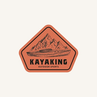 Símbolo de sinal de quadro abstrato de caiaque ou modelo de logotipo mão desenhada caiaque ou barco de canoa e montanhas la ...