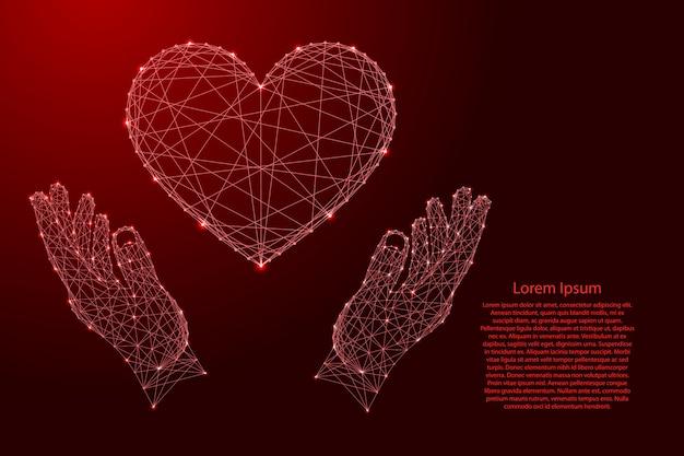 Símbolo de sinal do coração de amor e dois segurando, protegendo as mãos de linhas vermelhas poligonais futuristas e estrelas brilhantes.