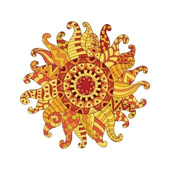 Símbolo de sol ornamental desenhado de mão.