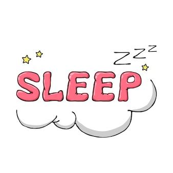 Símbolo de sono desenhado mão dos desenhos animados com nuvens e estrelas.