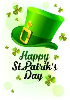 Símbolo de st. patrik como um chapéu verde com folha de trevo e bloco de texto sob