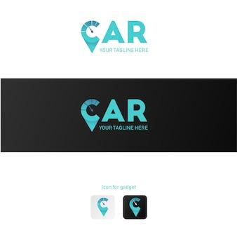 Símbolo de velocímetro de logotipo de carro com cor moderna
