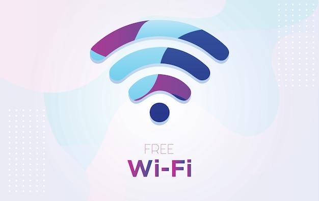 Símbolo de wi-fi gratuito de vetor com plano de fundo texturizado dinâmico em estilo 3d com cor azul e roxo