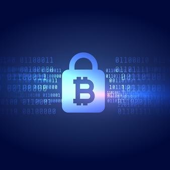 Símbolo digital bitcoin com fundo de forma de bloqueio garantido
