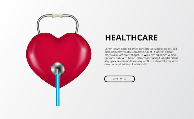 Símbolo do amor do coração com ilustração do conceito do estetoscópio para o conceito do dia de saúde de mundo.