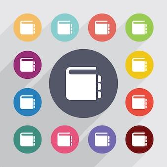 Símbolo do bloco de notas, conjunto de ícones planas. botões coloridos redondos. vetor