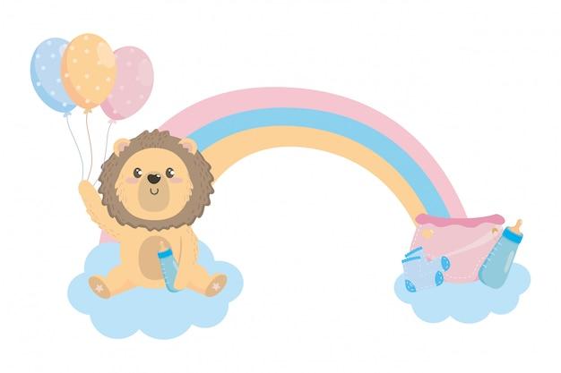 Símbolo do chuveiro de bebê e leão