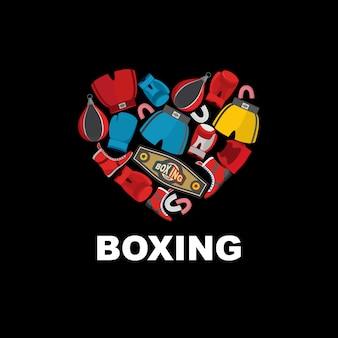 Símbolo do coração da engrenagem de boxe: capacete, calções e luvas de boxe. eu amo boxe.