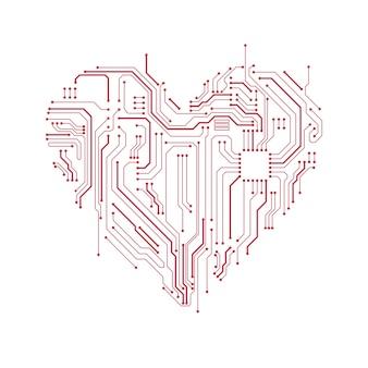 Símbolo do coração da placa de circuito.