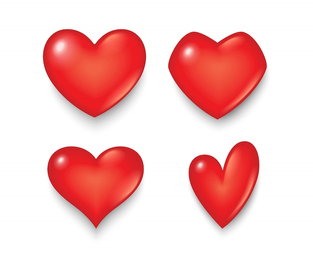 Símbolo do coração em várias formas e desenhos.