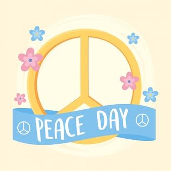 Símbolo do dia internacional da paz com ilustração vetorial de decoração de flores