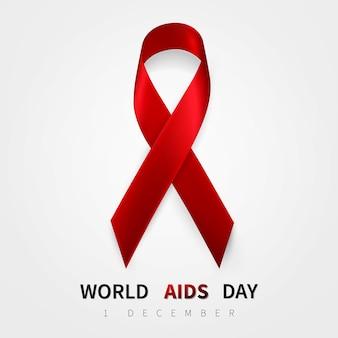 Símbolo do dia mundial da aids, 1 de dezembro. símbolo realista de fita vermelha.