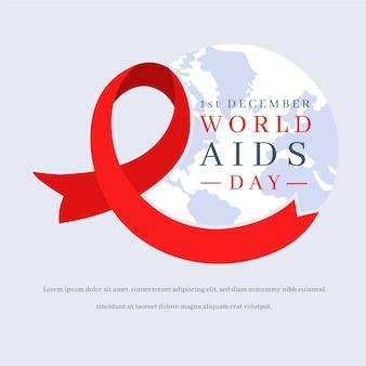 Símbolo do dia mundial da aids design plano com terra