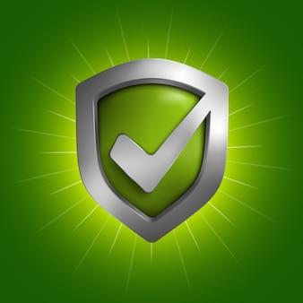 Símbolo do escudo de segurança. ilustração no fundo.