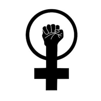 Símbolo do feminismo punho levantando o poder feminino