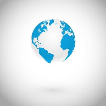Símbolo do globo sobre o conceito de ícone branco