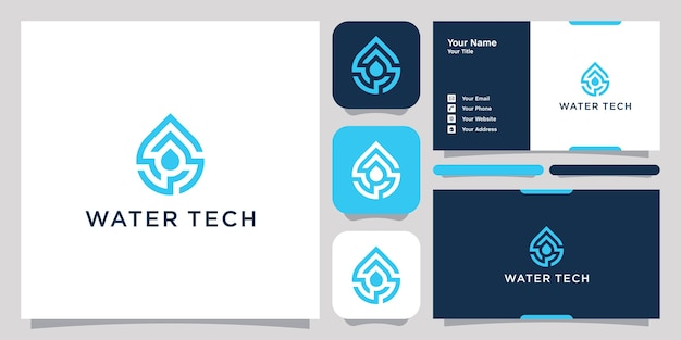 Símbolo do ícone de design de logotipo de tecnologia de água
