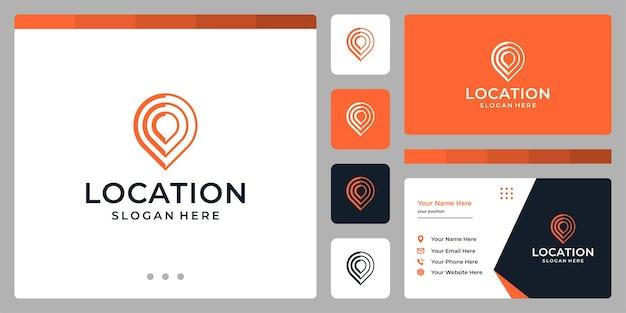 Símbolo do ícone de localização com linha abstrata. modelos de design de cartão de visita.
