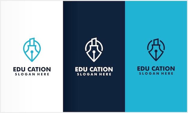 Símbolo do ícone de localização com modelo de design de logotipo de ícone de educação Vetor Premium