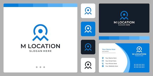Símbolo do ícone de localização e letra inicial m. design de cartão de visita.