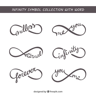 Símbolo do infinito com coleção de palavra