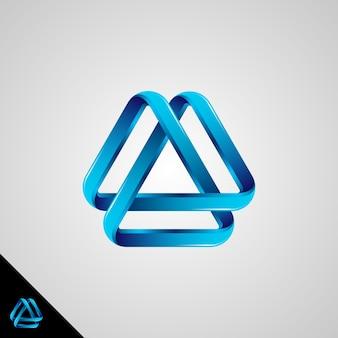 Símbolo do infinito com estilo 3d e conceito de triângulo